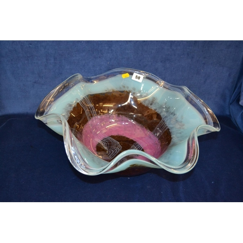 58 - LARGE MULTI COLOURED STUDIO GLASS CENTREPIECE BOWL WITH FLARED RIM...