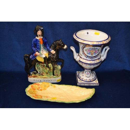 6 - CONTINENTAL PORCELAIN TWO HANDLED TABLE URN, STAFFORDSHIRE FLAT BACK FIGURE OF DICK TURPIN AND KENSI...