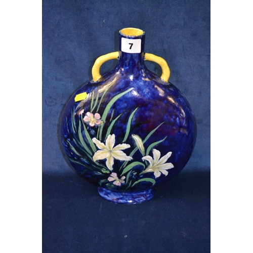 7 - ORIENTAL BLUE GROUND TWO HANDLED FLASK DECORATED IRIS...