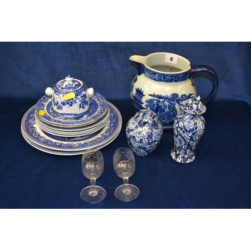 8 - BLUE AND WHITE IRONSTONE JUG, WILLOW PATTERN PLATES, ORIENTAL POTS, ETC...