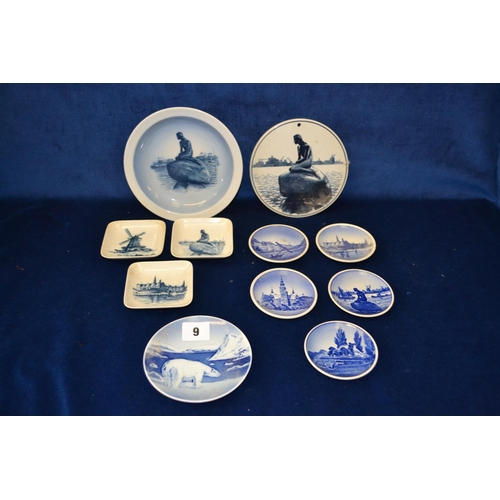 9 - ELEVEN PIECES OF ROYAL COPENHAGEN AND DANISH PORCELAIN TRINKET DISHES AND PLAQUE...