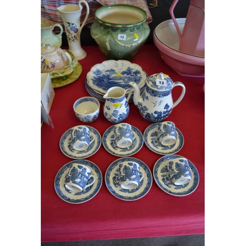 13 - WEDGWOOD BLUE AND WHITE WILLOW COFFEE SERVICE, ETC...