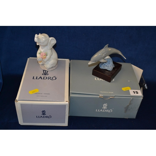 15 - LLADRO PORCELAIN LEAPING DOLPHIN AND LLADRO ELEPHANT...