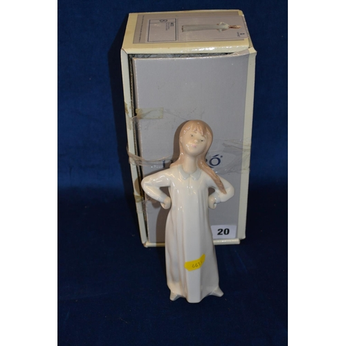 20 - LLADRO PORCELAIN FIGURE OF GIRL WITH ARMS AKIMBO...