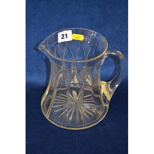 21 - ART NOUVEAU CUT GLASS WATER JUG...