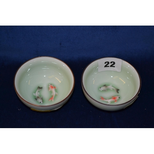 22 - PAIR OF SMALL CHINESE PORCELAIN BOWLS WITH EMBOSSED KOI CARP...