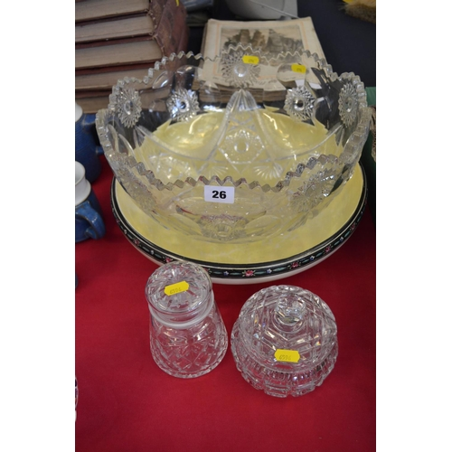 26 - LARGE CIRCULAR GLASS PUNCH BOWL, 2 CUT GLASS POTS AND CHINA TOILET BOWL...
