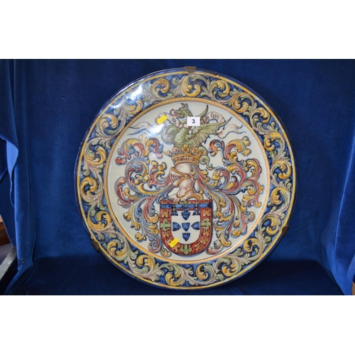 3 - 54CM PORTUGESE CIRCULAR FAIENCE CHARGER DECORATED COAT OF ARMS WITH ACANTHUS BORDER...