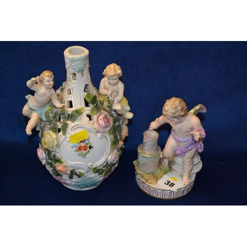 38 - 19TH CENTURY PORCELAIN FIGURE OF CHERUBS HOLDING A TORCH AND SITZENDORF PORCELAIN VASE SUPPORTING TW...