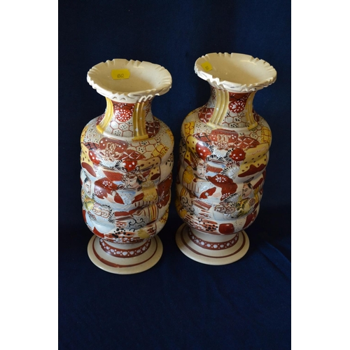 4 - PAIR OF 29CM JAPANESE SATSUMA VASES DECORATED FIGURES IN LANDSCAPES...