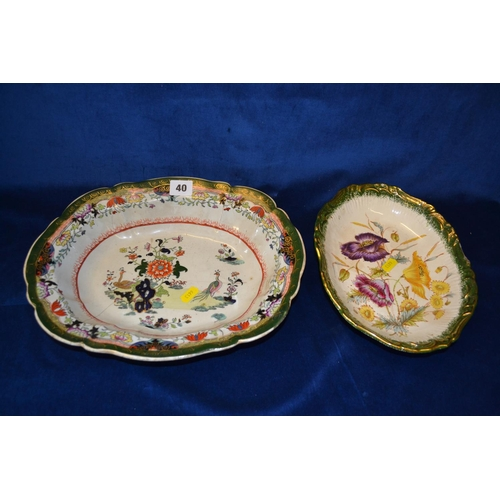 40 - 19TH CENTURY MASON'S OVAL IRONSTONE DISH AND OVAL FLORAL DISH...