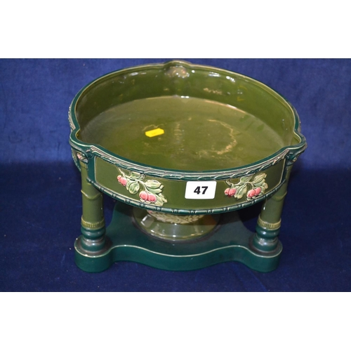 47 - ART DECO GREEN GROUND CIRCULAR TABLE CENTRE PIECE ON PILLAR SUPPORTS, DECORATED FRUIT...