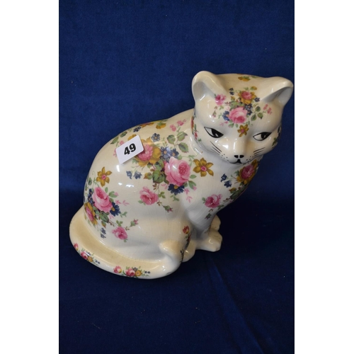 49 - POTTERY CAT DECORATED FLOWERS...
