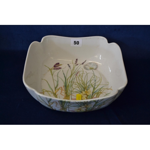 50 - SQUARE FRENCH BOWL DECORATED SPRING FLOWERS...