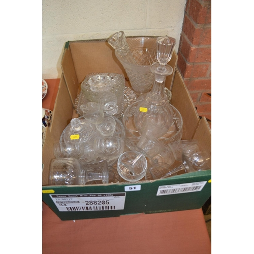 51 - CUT GLASS DECANTER, VASE, DISHES AND GLASSES...