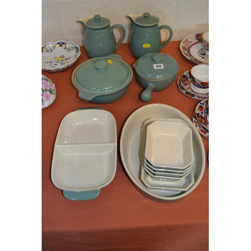 53 - PAIR OF DENBY GREEN GROUND LIDDED JUGS, TUREEN, PAN AND 7 VARIOUS DISHES...