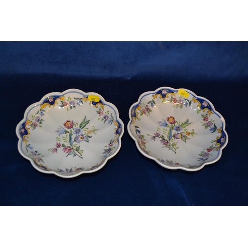 56 - PAIR OF HAND PAINTED PORTUGUESE FAIENCE DISHES...