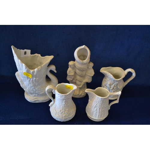8 - 3 PORTMEIRION BISQUE WARE EMBOSSED JUGS AND 2 VASES...