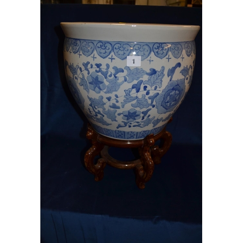 1 - LARGE BLUE AND WHITE CHINESE JARDINIERE ON SHAPED WOODEN STAND...
