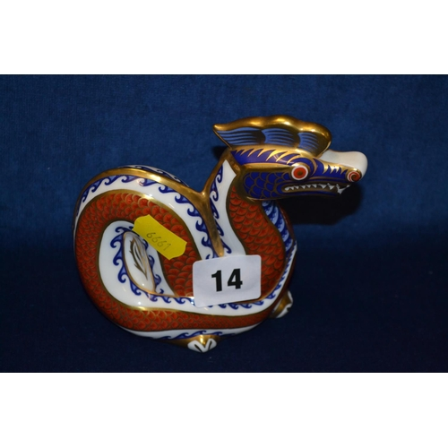 14 - ROYAL CROWN DERBY IMARI PATTERN DRAGON PAPERWEIGHT...