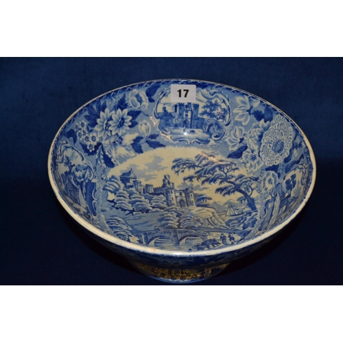 17 - 19TH CENTURY CIRCULAR BLUE AND WHITE PEDESTAL TRANSFER PRINTED FRUIT BOWL DECORATED CASTLES AND FLOW...