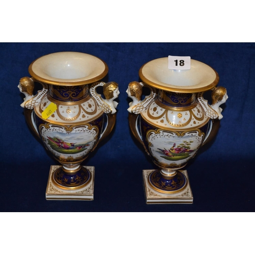 18 - PAIR OF 19TH CENTURY PORCELAIN URN SHAPED VASES WITH BLUE AND GILT DECORATION, HAND PAINTED PANELS D...