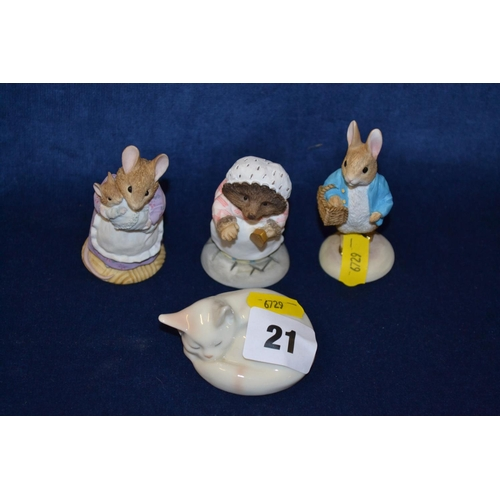 21 - ROYAL COPENHAGEN SLEEPING CAT AND 3 BORDER FINE ARTS BEATRIX POTTER FIGURES...