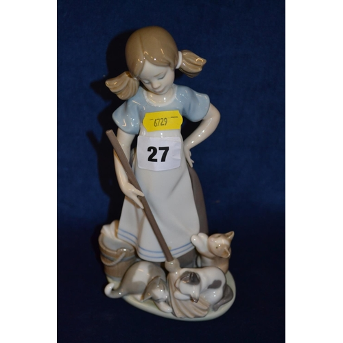 27 - LLADRO PORCELAIN FIGURE OF GIRL WITH BROOM AND KITTENS...