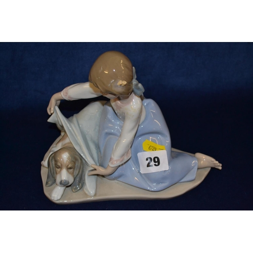29 - LLADRO PORCELAIN FIGURE OF GIRL COVERING PUPPY UP...