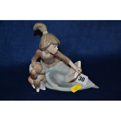 30 - LLADRO PORCELAIN FIGURE OF GIRL READING BOOK WITH PUPPY...