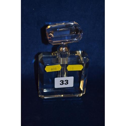 33 - ART DECO STYLE CUT GLASS SCENT BOTTLE...