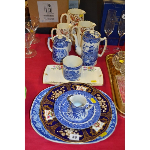39 - BURLEUGH WARE BLUE AND WHITE WILLOW PATTERN COFFEE POT, GEORGE JONES