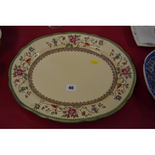 40 - ROYAL CAULDON OVAL MEAT PLATE WITH FLORAL BORDER...
