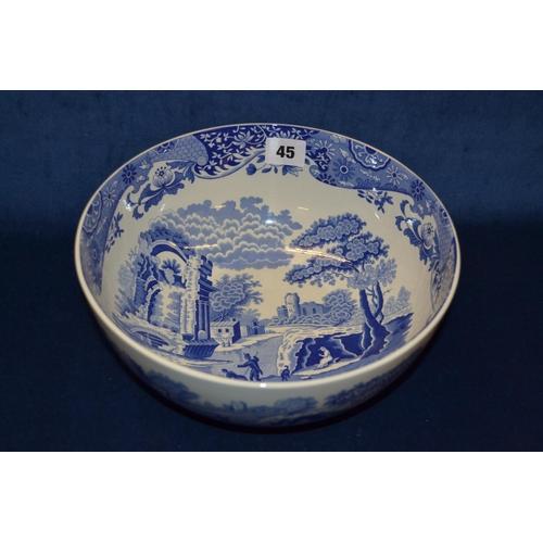 45 - SPODE CIRCULAR BLUE AND WHITE BONE CHINA