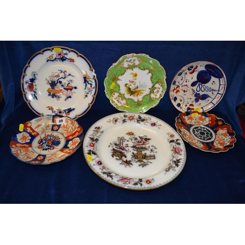 49 - TWO 19TH CENTURY JAPANESE IMARI DISHES AND 4 DECORATIVE PLATES...