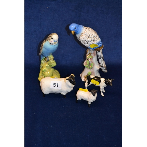 51 - BESWICK EWE AND LAMB, CALF AND BUDGERIGAR AND BONE CHINA COCKATOO...