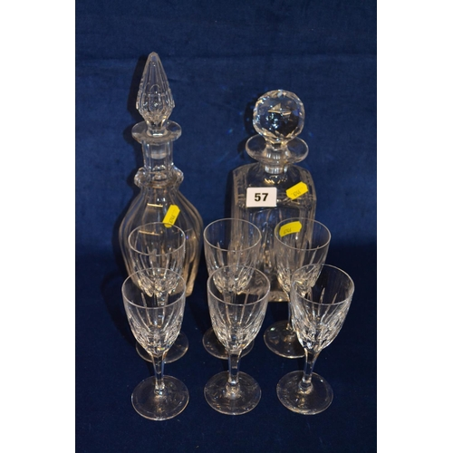 57 - TWO CUT GLASS DECANTERS AND SET OF SIX SHERRY GLASSES...