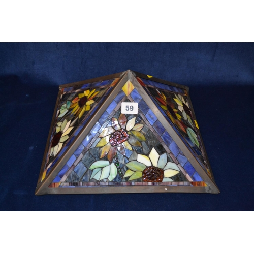 59 - TIFFANY STYLE SQUARE STAINED GLASS LAMPSHADE...