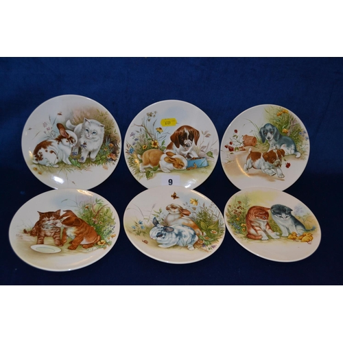 9 - SIX POOLE POTTERY PLATES DEPICTING PUPPIES, RABBITS AND KITTENS...