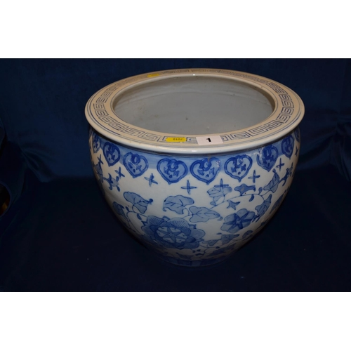 1 - BLUE AND WHITE ORIENTAL JARDINIERE...