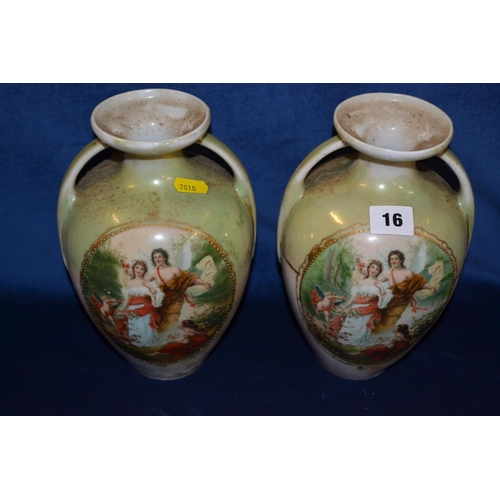 16 - PAIR OF CONTINENTAL PORCELAIN TWO HANDLED VASES WITH PANELS DEPICTING