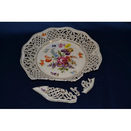 28 - 19TH CENTURY DRESDEN WALL PLATE HAND PAINTED FLOWERS WITH PIERCED BORDER...
