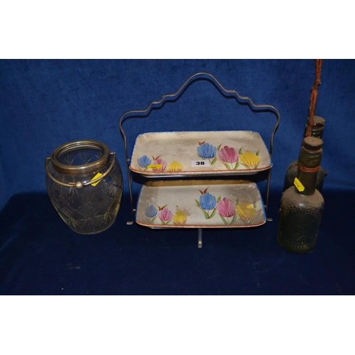 38 - CORONET WARE CHROME CAKE STAND WITH TWO CHINA TRAYS DECORATED TULIPS, TWO OLD LEMONADE BOTTLES AND G...