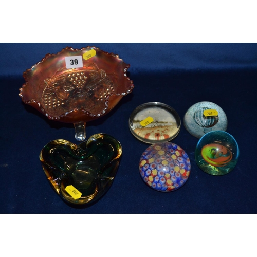 39 - CARNIVAL WARE GLASS DISH, 4 PAPERWEIGHTS AND MURANO GLASS BOWL...