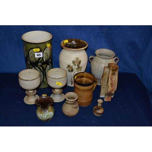 43 - ALVINGHAM STUDIO POTTERY VASE, ROB FIEREK STONEWARE VASE AND QUANTITY OF STONEWARE GOBLETS AND VASES...