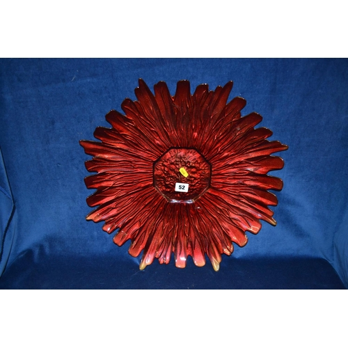52 - RED GLASS DISH IN FORM OF FLOWER WITH GILDED BACK...