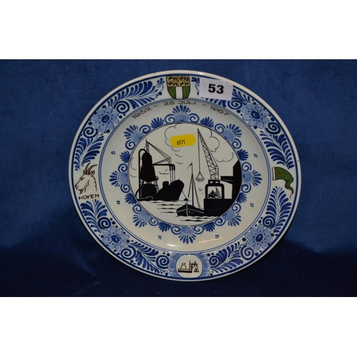 53 - HAND PAINTED BLUE AND WHITE DELFT SOUVENIR PLATE 1932-1857...