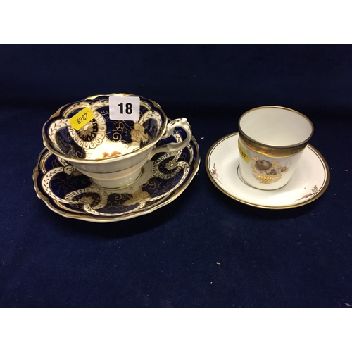 18 - 19TH CENTURY COALBROOKDALE CHINA TEACUP AND SAUCER WITH