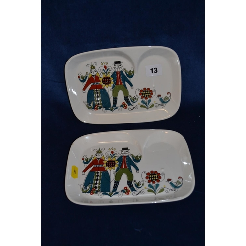13 - PAIR OF NORWEIGIAN SAGA DISHES DECORATED FIGURES, FLOWERS AND BIRD...