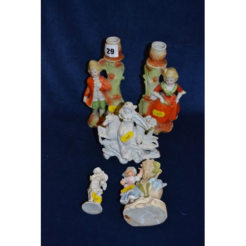 29 - PAIR OF EDWARDIAN PORCELAIN CANDLESTICK FIGURES AND 3 OTHERS...